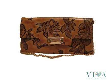 Calfskin Printed Bag Cuoieria Fiorentina 1975 cognac with floral images