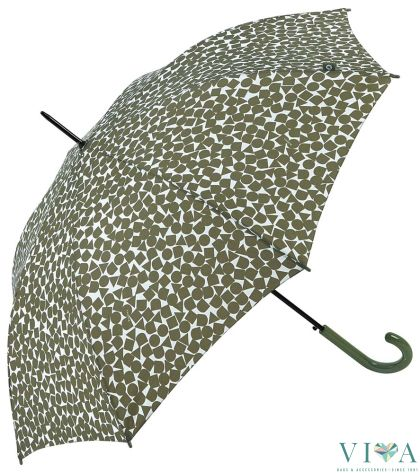 Women Automatic Bisetti Umbrella 34128 green with white motives