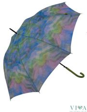 Woman's Long  Umbrella Bisetti 34148 multi colors with green handle
