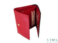 Women's Leather Wallet  with peacocksTalja  02 red