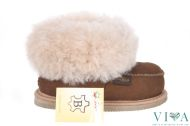 Children slippers from natural leather 14 brown