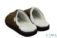 Men Slippers real leather 155 dark brown